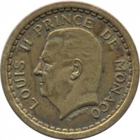 obverse of 2 Francs - Louis II (1945) coin with KM# 121a from Monaco. Inscription: LOUIS II PRINCE DE MONACO L. MAUBERT