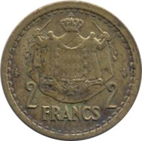 reverse of 2 Francs - Louis II (1945) coin with KM# 121a from Monaco. Inscription: 2 FRANCS 2 DEO JUVANTE