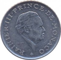 obverse of 2 Francs - Rainier III (1979 - 1982) coin with KM# 157 from Monaco. Inscription: RAINIER · III · PRINCE · DE · MONACO G. SIMON
