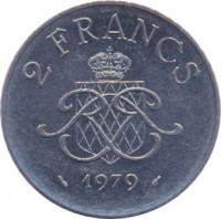 reverse of 2 Francs - Rainier III (1979 - 1982) coin with KM# 157 from Monaco. Inscription: 2 FRANCS 1979