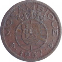 obverse of 50 Centavos (1953 - 1957) coin with KM# 81 from Mozambique. Inscription: MOCAMBIQUE 1957