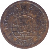 obverse of 20 Centavos (1973 - 1974) coin with KM# 88 from Mozambique. Inscription: MOÇAMBIQUE 1974