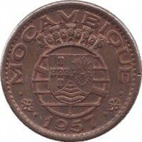 obverse of 1 Escudo (1953 - 1974) coin with KM# 82 from Mozambique. Inscription: · MOÇAMBIQUE · · 1957 ·