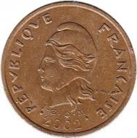 obverse of 100 Francs (1976 - 2005) coin with KM# 15 from New Caledonia. Inscription: REPUBLIQUE FRANÇAISE R. JOLY I · E · O · M 2002