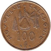 reverse of 100 Francs (1976 - 2005) coin with KM# 15 from New Caledonia. Inscription: NOUVELLE CALEDONIE 100 f