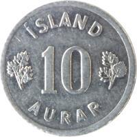 reverse of 10 Aurar (1970 - 1974) coin with KM# 10a from Iceland. Inscription: ÍSLAND 10 AURAR