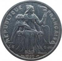 obverse of 2 Francs (1973 - 2014) coin with KM# 14 from New Caledonia. Inscription: REPUBLIQUE FRANÇAISE I·E· O·M· G.B.BAZOR 1990
