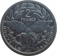 reverse of 2 Francs (1973 - 2014) coin with KM# 14 from New Caledonia. Inscription: 2 FRANCS NOUVELLE CALEDONIE