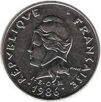 obverse of 10 Francs (1972 - 2005) coin with KM# 11 from New Caledonia. Inscription: RÉPUBLIQUE FRANÇAISE R. JOLY I · E · O · M 1986