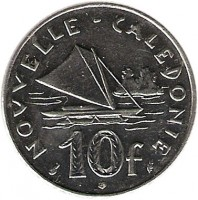 reverse of 10 Francs (1972 - 2005) coin with KM# 11 from New Caledonia. Inscription: NOUVELLE-CALEDONIE 10 f