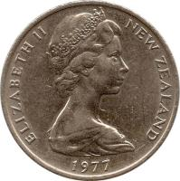 obverse of 20 Cents - Elizabeth II - 2'nd Portrait (1967 - 1985) coin with KM# 36 from New Zealand. Inscription: ELIZABETH II NEW ZEALAND 1982