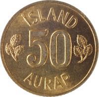 reverse of 50 Aurar (1969 - 1974) coin with KM# 17 from Iceland. Inscription: ÍSLAND 50 AURAR