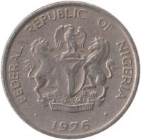 obverse of 5 Kobo (1973 - 1989) coin with KM# 9 from Nigeria. Inscription: FEDERAL REPUBLIC OF NIGERIA UNITY AND FAITH, PEACE AND PROGRESS 1975