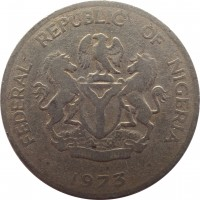 obverse of 10 Kobo (1973 - 1990) coin with KM# 10 from Nigeria. Inscription: FEDERAL REPUBLIC OF NIGERIA UNITY AND FAITH 1973