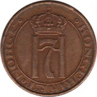 obverse of 5 Øre - Haakon VII (1908 - 1952) coin with KM# 368 from Norway. Inscription: · KONGERIKET · NORGE ·