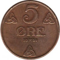 reverse of 5 Øre - Haakon VII (1908 - 1952) coin with KM# 368 from Norway. Inscription: 5 ØRE 19 51