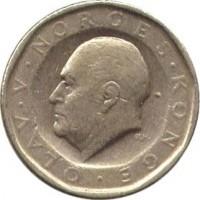 obverse of 10 Kroner - Olav V (1983 - 1991) coin with KM# 427 from Norway. Inscription: OLAV · V · NORGES · KONGE · Ø.H.
