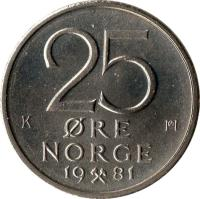reverse of 25 Øre - Olav V (1974 - 1982) coin with KM# 417 from Norway. Inscription: 25 ØRE NORGE 19 81