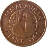 obverse of 5 Aurar (1981) coin with KM# 24 from Iceland. Inscription: FIMM AURAR ÍSLAND 1981