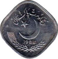 obverse of 5 Paisa (1981 - 1996) coin with KM# 52 from Pakistan. Inscription: جمہوریت پاکستان 1983