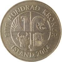 obverse of 100 Krónur (1995 - 2011) coin with KM# 35 from Iceland. Inscription: EITT HUNDRAÐ KRÓNUR ÍSLAND 2004
