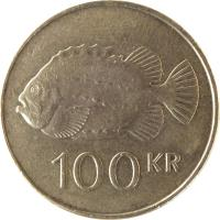 reverse of 100 Krónur (1995 - 2011) coin with KM# 35 from Iceland. Inscription: 100 KR