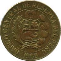 obverse of 1/2 Sol de Oro - Large Coat of Arms (1966 - 1973) coin with KM# 247 from Peru. Inscription: BANCO CENTRAL DE RESERVA DEL PERU 1969