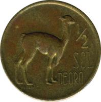 reverse of 1/2 Sol de Oro - Large Coat of Arms (1966 - 1973) coin with KM# 247 from Peru. Inscription: 1/2 SOL DE ORO
