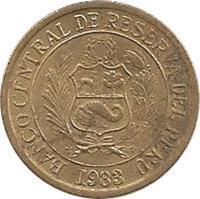 obverse of 10 Soles de Oro (1978 - 1983) coin with KM# 272 from Peru. Inscription: BANCO CENTRAL DE RESERVA DEL PERU 1993