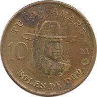reverse of 10 Soles de Oro (1978 - 1983) coin with KM# 272 from Peru. Inscription: TUPAC AMARU 10 SOLES DE ORO