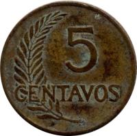 reverse of 5 Centavos (1945 - 1965) coin with KM# 223 from Peru. Inscription: 5 CENTAVOS