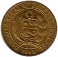 obverse of 5 Centavos (1966 - 1975) coin with KM# 244 from Peru. Inscription: BANCO CENTRAL DE RESERVA DEL PERU 1969