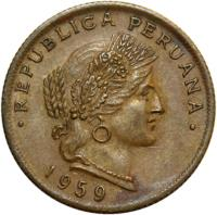 obverse of 20 Centavos (1951 - 1965) coin with KM# 221.2b from Peru. Inscription: · REPUBLICA PERUANA · 1964