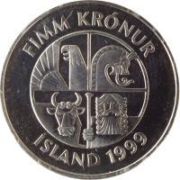 obverse of 5 Krónur (1996 - 2008) coin with KM# 28a from Iceland. Inscription: FIMM KRÓNUR ÍSLAND 1999