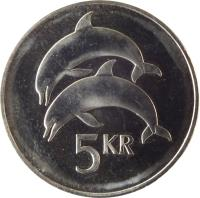reverse of 5 Krónur (1996 - 2008) coin with KM# 28a from Iceland. Inscription: 5 KR