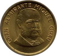 obverse of 10 Céntimos (1985 - 1987) coin with KM# 293 from Peru. Inscription: GRAN ALMIRANTE MIGUEL GRAU
