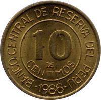 reverse of 10 Céntimos (1985 - 1987) coin with KM# 293 from Peru. Inscription: 10 CENTIMOS LIMA 1986 BANCO CENTRAL DE RESERVA DEL PERU