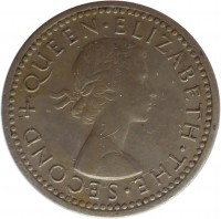 obverse of 3 Pence - Elizabeth II - 1'st Portrait (1955 - 1964) coin with KM# 3 from Rhodesia and Nyasaland. Inscription: + QUEEN · ELIZABETH · THE · SECOND