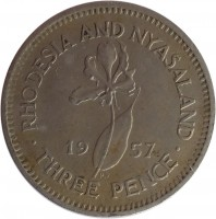 reverse of 3 Pence - Elizabeth II - 1'st Portrait (1955 - 1964) coin with KM# 3 from Rhodesia and Nyasaland. Inscription: RHODESIA AND NYASALAND 19 57 · THREE PENCE ·