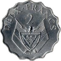 reverse of 2 Francs - FAO (1970) coin with KM# 10 from Rwanda. Inscription: DEUX FRANCS 2
