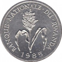 obverse of 1 Franc (1974 - 1985) coin with KM# 12 from Rwanda. Inscription: BANQUE NATIONALE DU RWANDA 1985
