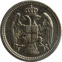 obverse of 10 Para - Milan I / Alexander I / Peter I (1883 - 1917) coin with KM# 19 from Serbia.