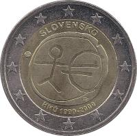 obverse of 2 Euro - 10 Years of EMU (2009) coin with KM# 103 from Slovakia. Inscription: SLOVENSKO HMÚ 1999-2009