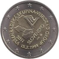 obverse of 2 Euro - Visegrad Group (2011) coin with KM# 114 from Slovakia. Inscription: VYŠEHRADSKÁ SKUPINA . VISEGRAD GROUP 15.2.1991 2011 SLOVENSKO