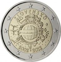 obverse of 2 Euro - 10 Years of Euro Cash (2012) coin with KM# 120 from Slovakia. Inscription: SLOVENSKO A.H. € 2002 2012