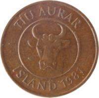 obverse of 10 Aurar (1981) coin with KM# 25 from Iceland. Inscription: TÍU AURAR ÍSLAND 1981