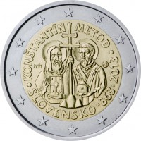 obverse of 2 Euro - Constantine and Methodius (2013) coin with KM# 128 from Slovakia. Inscription: KONŠTANTÍN METOD rrh MK · SLOVENSKO · 863 · 2013 ·