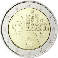 obverse of 2 Euro - Franc Rozman-Stane (2011) coin with KM# 100 from Slovenia. Inscription: FRANC ROZMANE STANE 1911 1944 SLOVENIJA 2011
