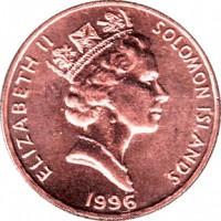 obverse of 1 Cent - Elizabeth II - 3'rd Portrait (1987 - 2010) coin with KM# 24 from Solomon Islands. Inscription: ELIZABETH II SOLOMON ISLANDS 1996