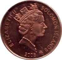 obverse of 2 Cents - Elizabeth II - 3'rd Portrait; Magnetic (1987 - 2006) coin with KM# 25 from Solomon Islands. Inscription: ELIZABETH II SOLOMON ISLANDS 2005